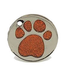 Personalised Engraved 25mm Glitter Paw Print Tag BOLD BLACK LETTERING Dog Cat Pet ID Tags