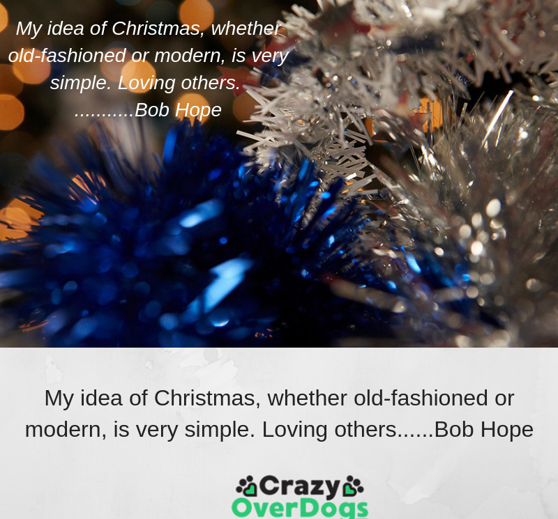 My idea of Christmas, whether old fashioned or modern, is very simple. Loving others......Bob Hope