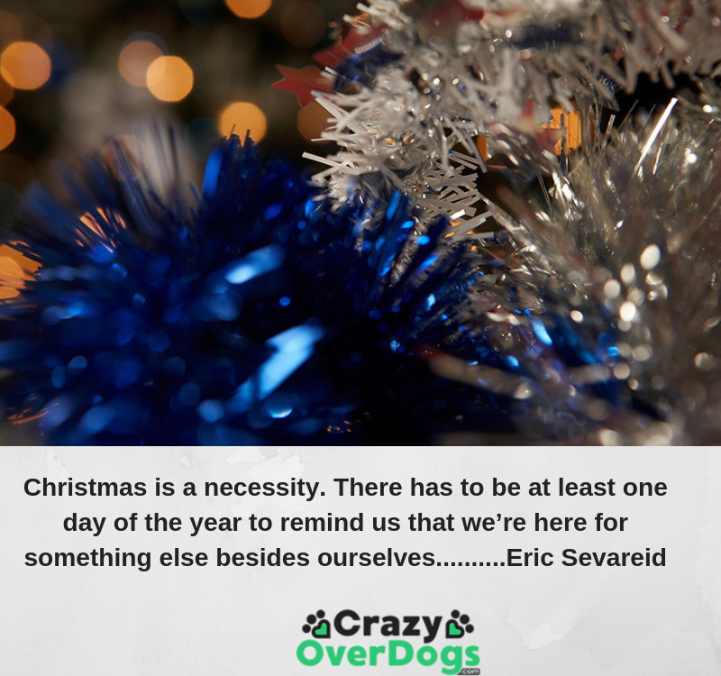 Christmas is a necessity. There has to be at least one day of the year to remind us that we're here for something else besides ourselves. ...........Eric Sevareid