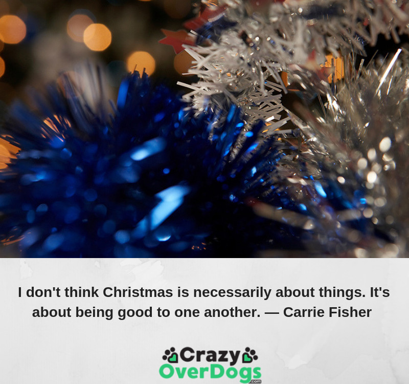 I don't think Christmas is necessarily about things. It's about being good to one another ...........Carrie Fisher