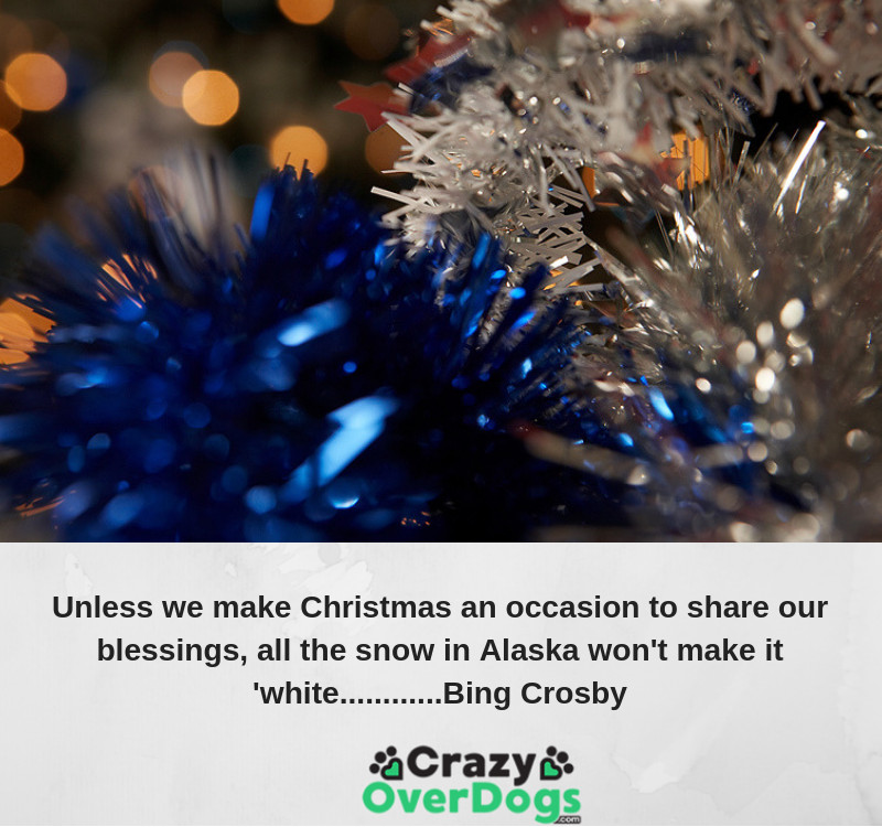 Unless we make Christmas an occasion to share our blessings, all the snow in Alaska won't make it 'white..... Bing Crosby