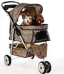 BestPet Extra Wide Leopard Skin 4 Wheels Pet Dog Stroller