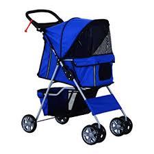 PawHut Pet 4 Wheels Travel Stroller Dog Cat Pushchair Trolley